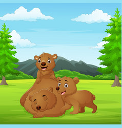 cartoon family bears in jungle vector image