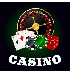 Casino roulette cards game chips and dice vector
