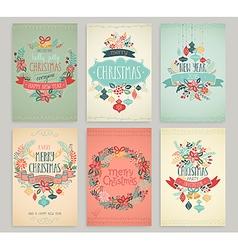 christmas handdrawn cards vector image