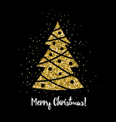 christmas tree with glitter effect card design vector image