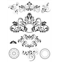 Collection of patterns and round frames vector image