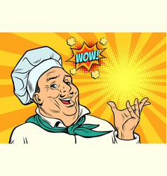 Cook chef man presentation gesture vector