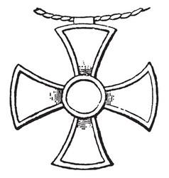 cross pendant vintage engraving vector image