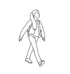 Cute girl with long hair taking a walk black vector