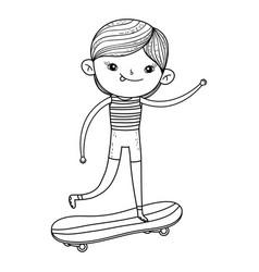 Cute little boy mounted in skateboard character vector