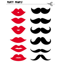 cute photo booth props lips and moustache vector image