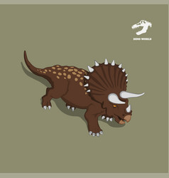 dinosaur triceratops in isometric style vector image