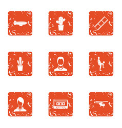 Distant territory icons set grunge style vector