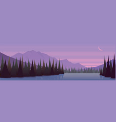 Dusk forest and lake beautiful landscape banner vector