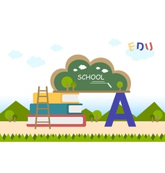 Education flat background with blackboard vector
