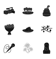Event service set icons in black style Big vector image