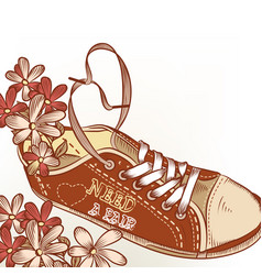 fashion hand drawn sport boot with flowers vector image