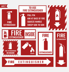 Fire extinguisher labels and signs vector