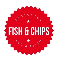 Fish and Chips vintage label red vector