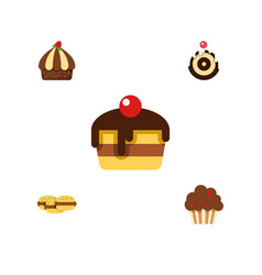 Flat cake set of biscuit cupcake dessert and vector