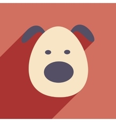 Flat with shadow icon and mobile application dog vector