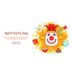 fools day banner horizontal clown cartoon style vector image