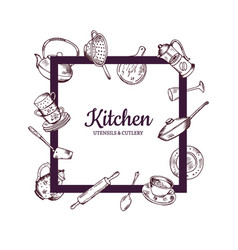 frame with hand drawn kitchen utensils vector image