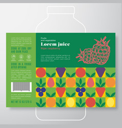 fruit and vegetables pattern juice label template vector image
