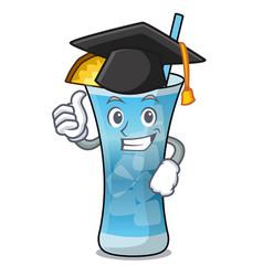 Graduation blue hawaii character cartoon vector