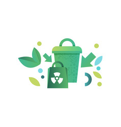 green recycle bin and paper bag with recycle vector image