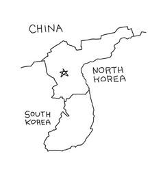 Hand-drawn map of north korea borders china and vector