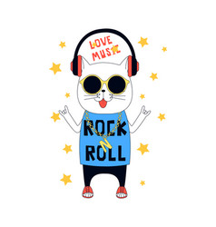 hand drawn rock and roll elements and cat vector image