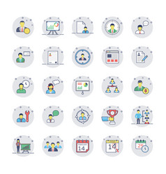 human resources colored line icons set 1 vector image