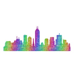 Indianapolis skyline silhouette - line art vector