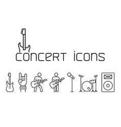 line concert icons set on white background vector image