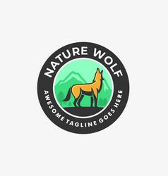 logo wolf vintage badge vector image