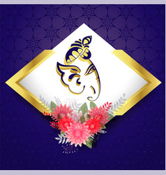 Lord ganesha with flower decoration beautiful vector