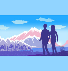 man and woman holding hands admire to mountain vector image