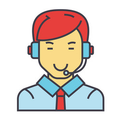 Man with a headset call center operator client vector