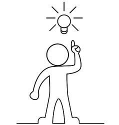Man with a light bulb vector