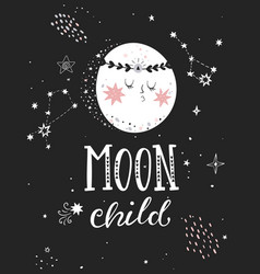 moon child poster with full moon vector image