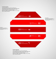 Octagon template consists of five red parts on vector