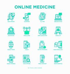 online medicine telemedicine thin line icons vector image