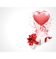 Open gift present box with fly hearts and balloon vector