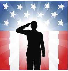 Patriotic soldier salute vector