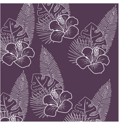 pattern from painted tropical leaves on purple vector image