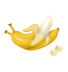 Peeled and diced ripe bananas vector