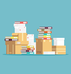 Pile cardboard boxes paper documents and vector