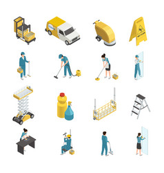 Professional cleaning isometric icons vector