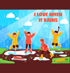Rainy day children outdoor vector