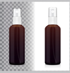 realistic brown bottle with atomizer mock up vector image