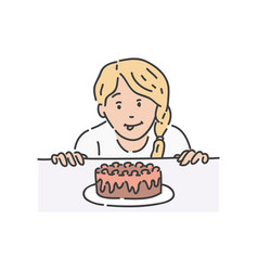 redhead woman surprised by piece of cake vector image
