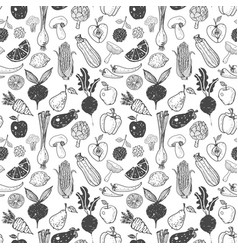 seamless background with doodle vegetables vector image
