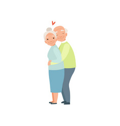 senior man and woman warmly hugging elderly vector image
