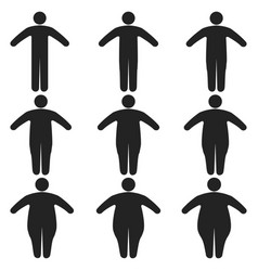 set icons human thick thin fat body size obesity vector image